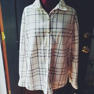 Lee Riders Soft White Plaid Fleece Shirt